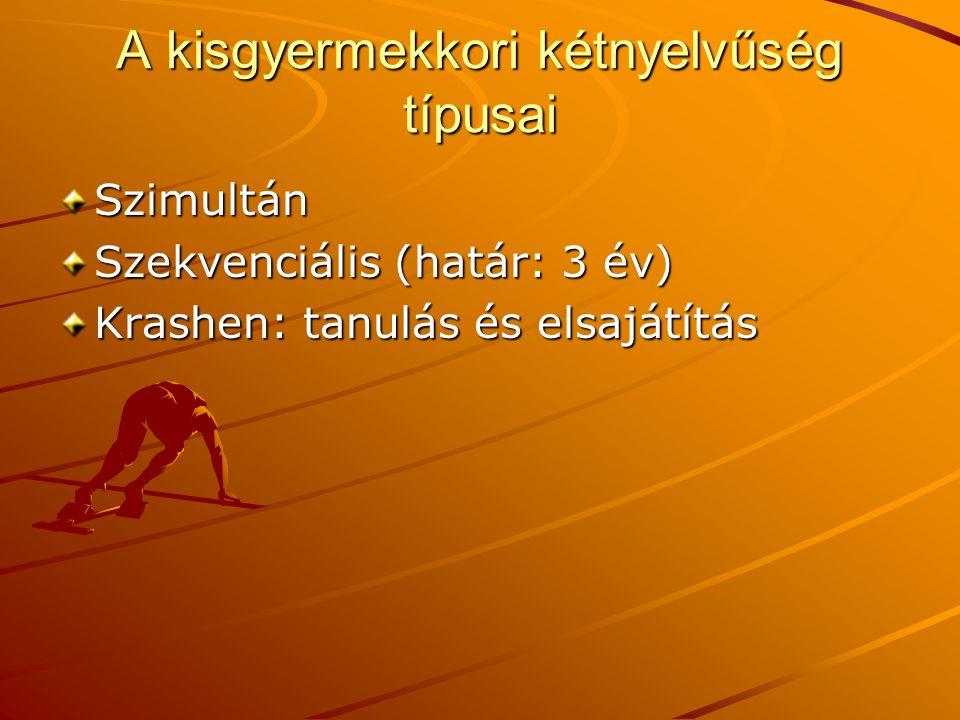 A kisgyermekkori kétnyelvűség típusai Szimultán Szekvenciális (határ: 3 év) Krashen: tanulás és elsajátítás