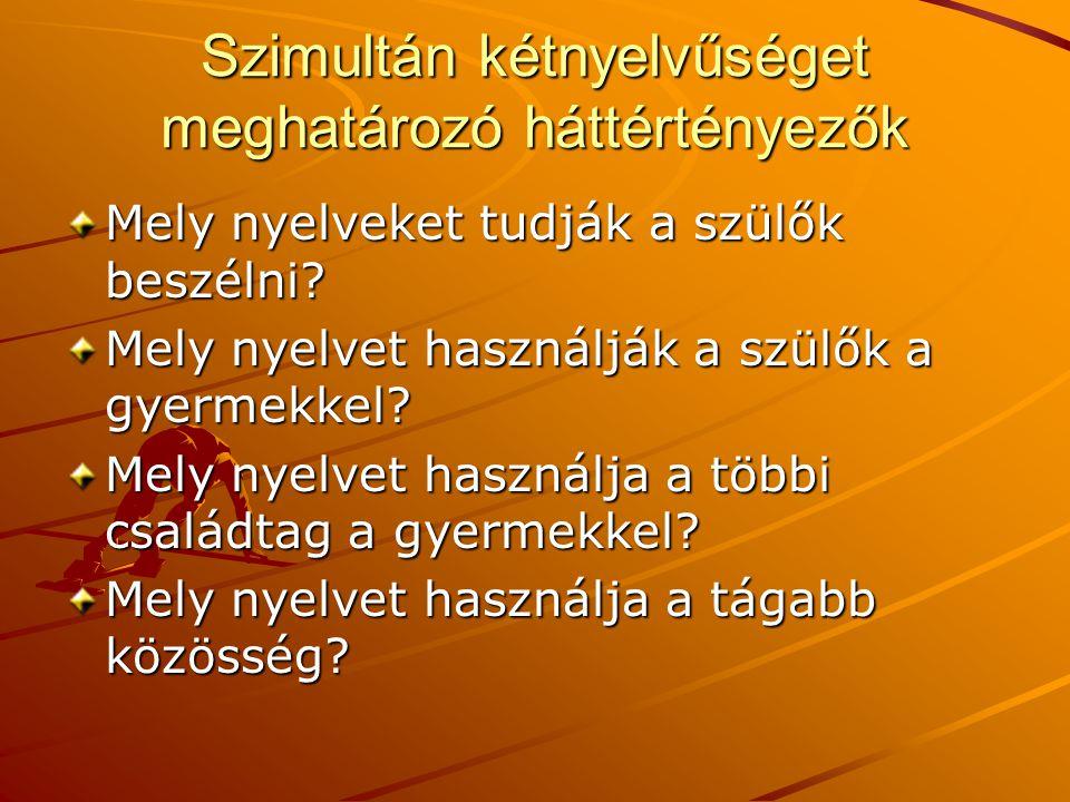 Szimultán kétnyelvűséget meghatározó háttértényezők Mely nyelveket tudják a szülők beszélni? Mely nyelvet használják a szülők a gyermekkel? Mely nyelv