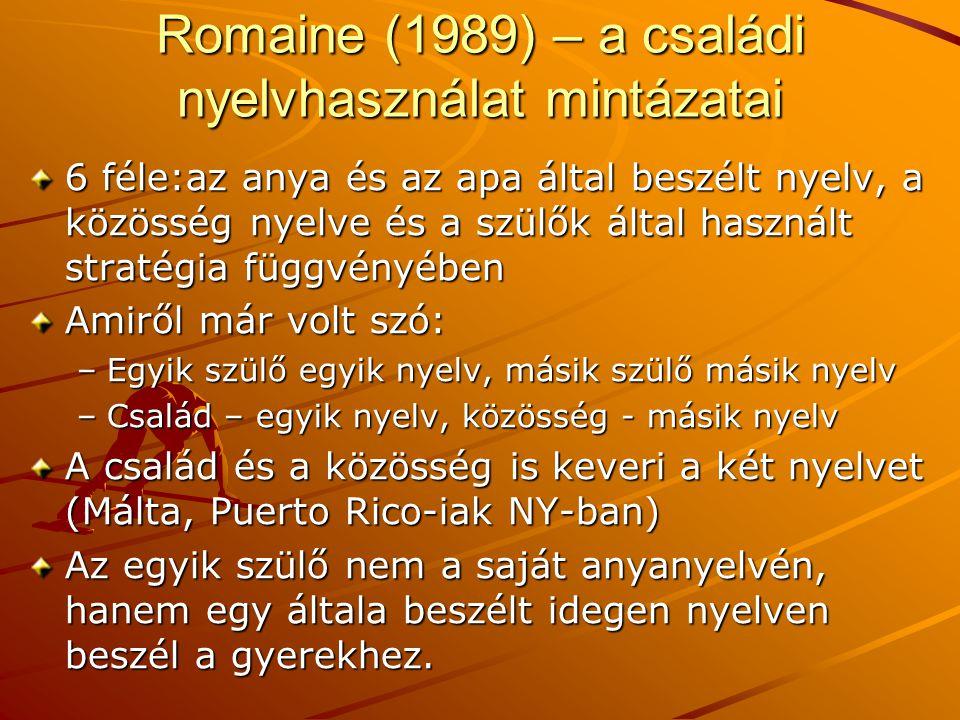 Romaine (1989) – a családi nyelvhasználat mintázatai 6 féle:az anya és az apa által beszélt nyelv, a közösség nyelve és a szülők által használt straté