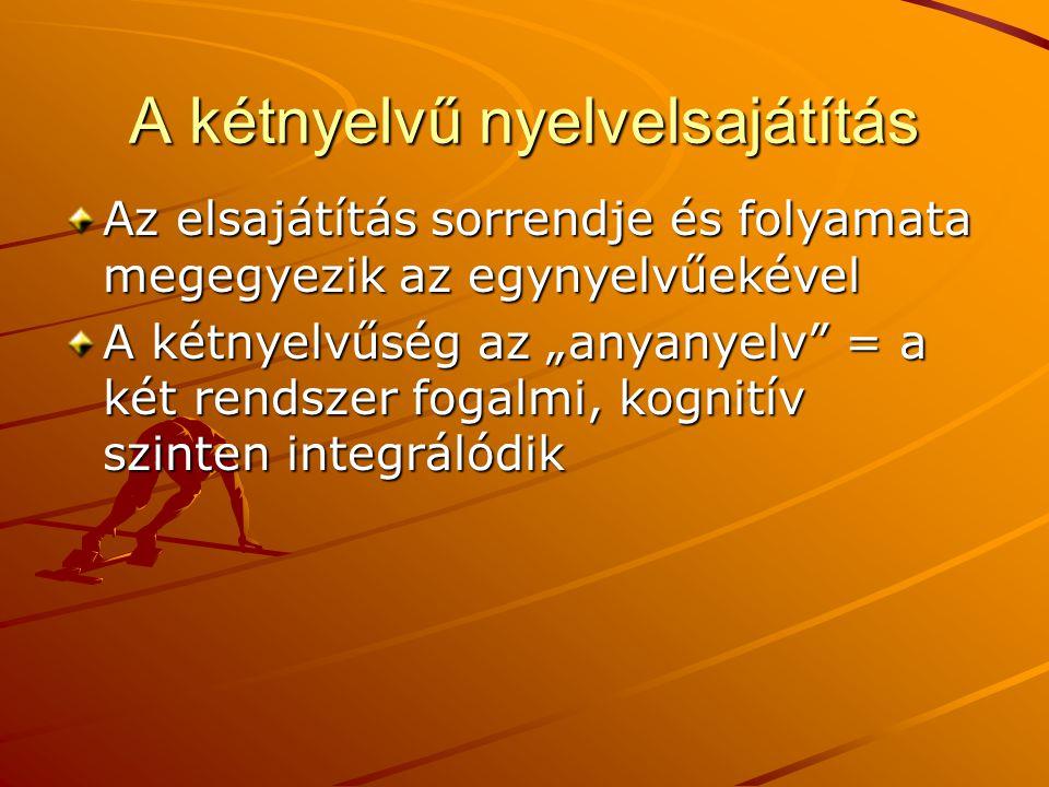 """A kétnyelvű nyelvelsajátítás Az elsajátítás sorrendje és folyamata megegyezik az egynyelvűekével A kétnyelvűség az """"anyanyelv"""" = a két rendszer fogalm"""