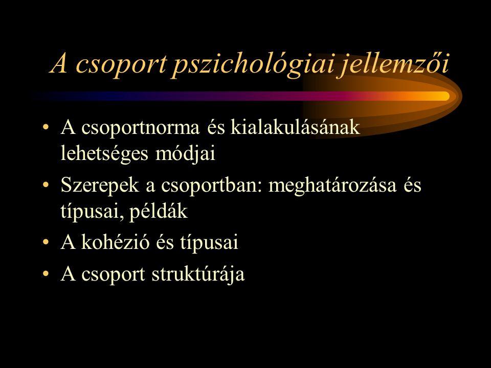 A csoport pszichológiai jellemzői A csoportnorma és kialakulásának lehetséges módjai Szerepek a csoportban: meghatározása és típusai, példák A kohézió és típusai A csoport struktúrája
