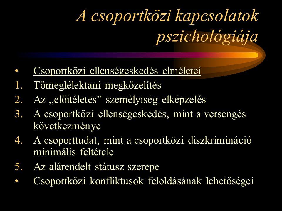 """A csoportközi kapcsolatok pszichológiája Csoportközi ellenségeskedés elméletei 1.Tömeglélektani megközelítés 2.Az """"előítéletes személyiség elképzelés 3.A csoportközi ellenségeskedés, mint a versengés következménye 4.A csoporttudat, mint a csoportközi diszkrimináció minimális feltétele 5.Az alárendelt státusz szerepe Csoportközi konfliktusok feloldásának lehetőségei"""