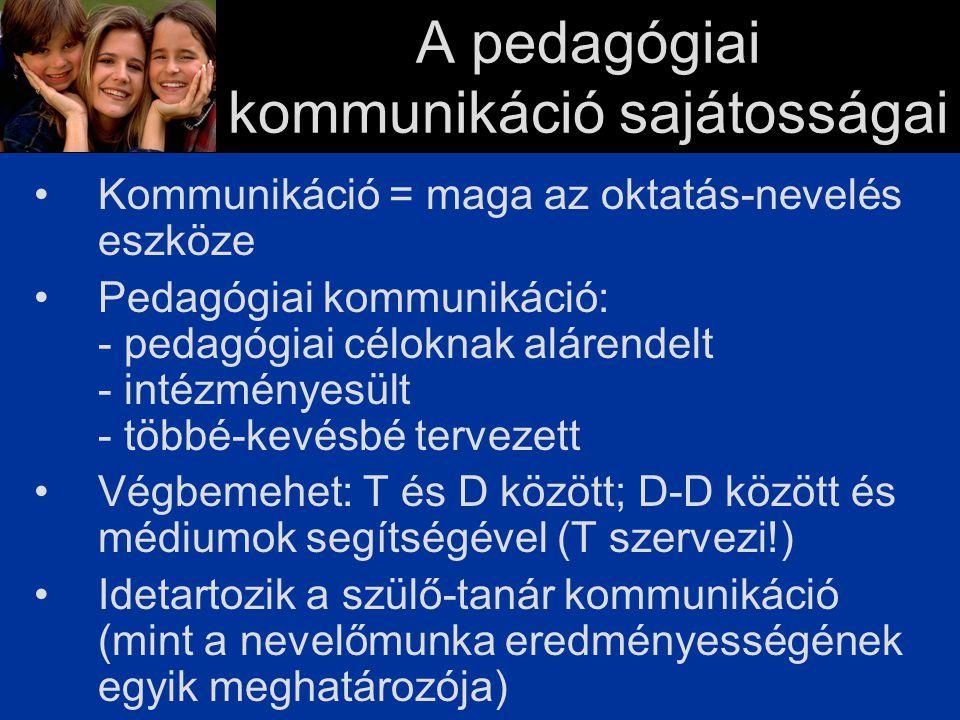 A pedagógiai kommunikáció sajátosságai Kommunikáció = maga az oktatás-nevelés eszköze Pedagógiai kommunikáció: - pedagógiai céloknak alárendelt - intézményesült - többé-kevésbé tervezett Végbemehet: T és D között; D-D között és médiumok segítségével (T szervezi!) Idetartozik a szülő-tanár kommunikáció (mint a nevelőmunka eredményességének egyik meghatározója)