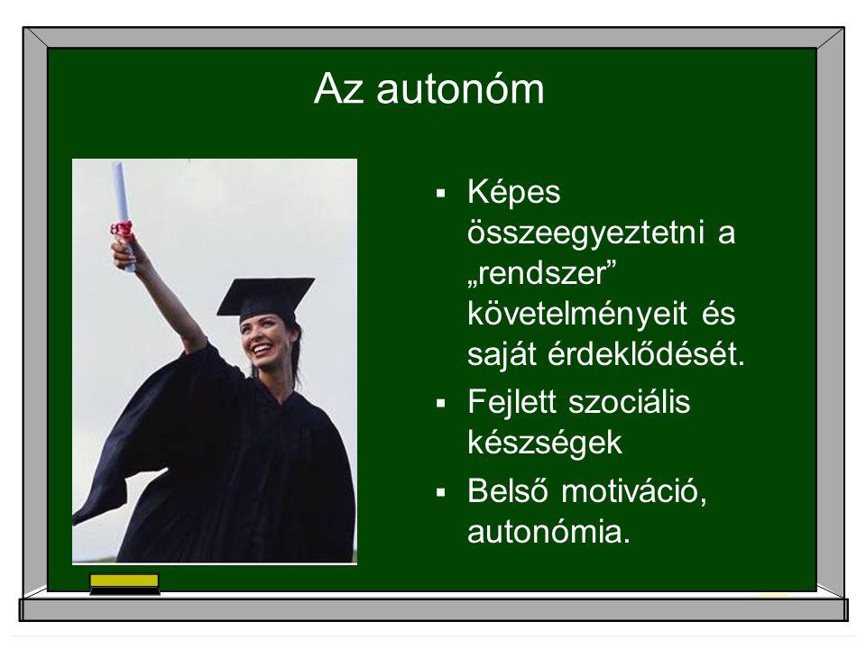 """Az autonóm  Képes összeegyeztetni a """"rendszer"""" követelményeit és saját érdeklődését.  Fejlett szociális készségek  Belső motiváció, autonómia."""