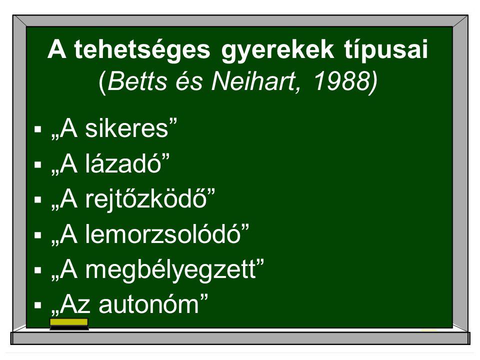 """A tehetséges gyerekek típusai (Betts és Neihart, 1988)  """"A sikeres""""  """"A lázadó""""  """"A rejtőzködő""""  """"A lemorzsolódó""""  """"A megbélyegzett""""  """"Az autonó"""