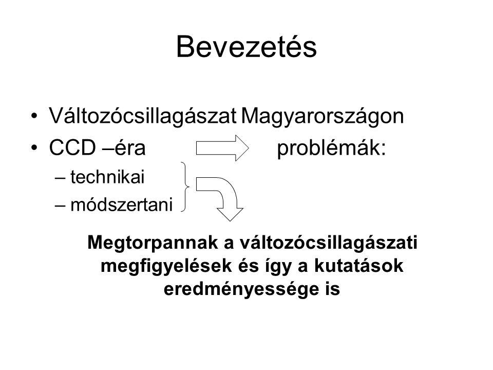 Bevezetés Változócsillagászat Magyarországon CCD –éra problémák: –technikai –módszertani Megtorpannak a változócsillagászati megfigyelések és így a kutatások eredményessége is
