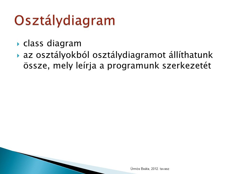  class diagram  az osztályokból osztálydiagramot állíthatunk össze, mely leírja a programunk szerkezetét Ürmös Beáta, 2012. tavasz