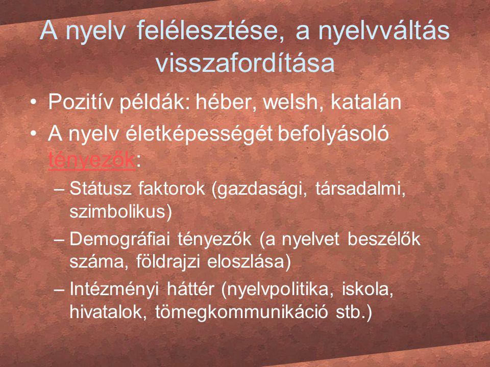 A nyelv felélesztése, a nyelvváltás visszafordítása Pozitív példák: héber, welsh, katalán A nyelv életképességét befolyásoló tényezők: tényezők –Státu