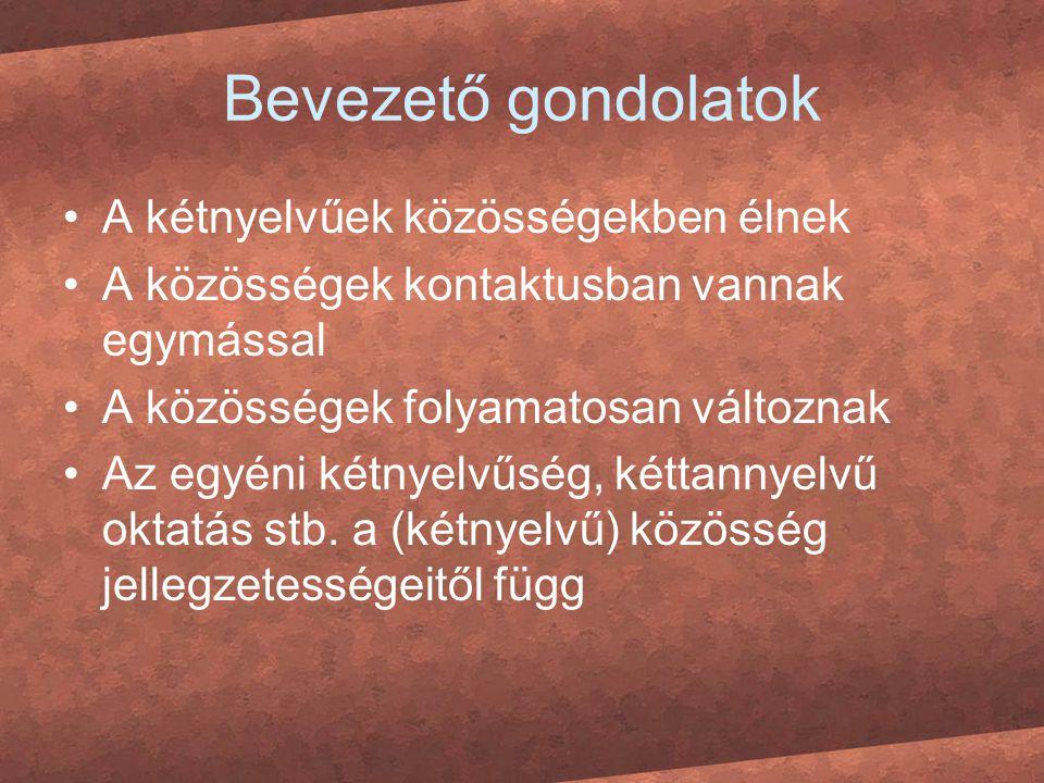 Bevezető gondolatok A kétnyelvűek közösségekben élnek A közösségek kontaktusban vannak egymással A közösségek folyamatosan változnak Az egyéni kétnyel