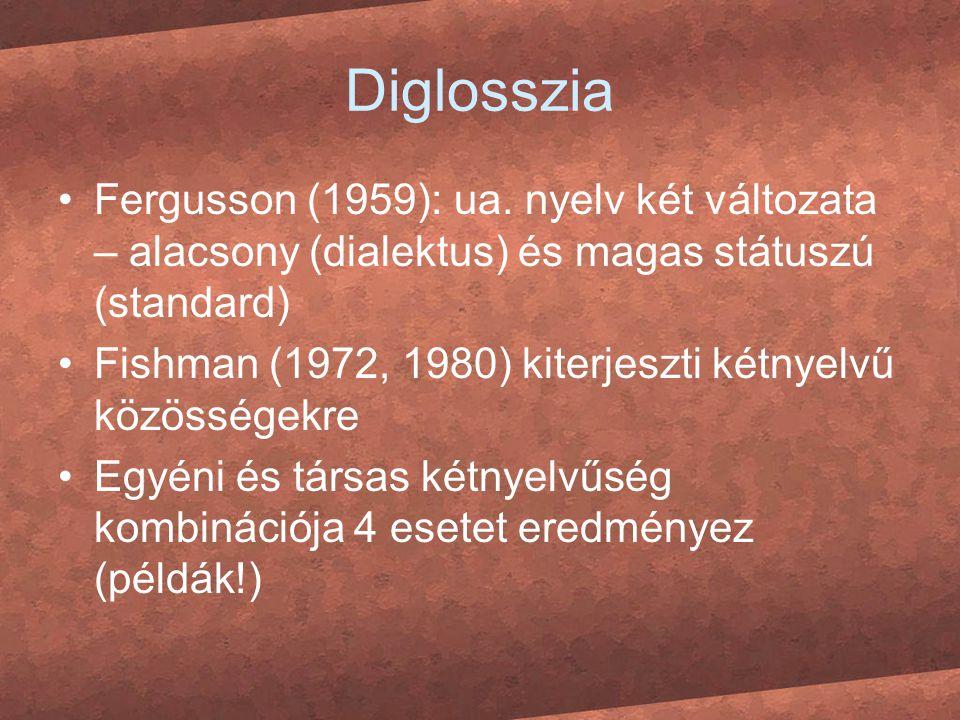 Diglosszia Fergusson (1959): ua. nyelv két változata – alacsony (dialektus) és magas státuszú (standard) Fishman (1972, 1980) kiterjeszti kétnyelvű kö