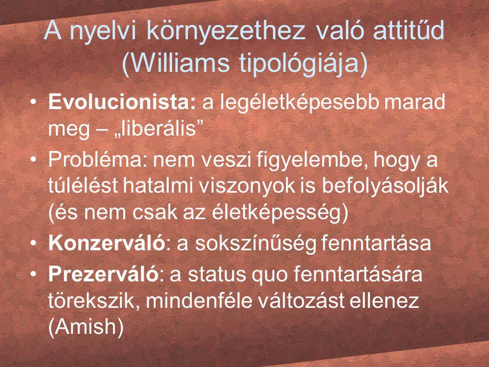 """A nyelvi környezethez való attitűd (Williams tipológiája) Evolucionista: a legéletképesebb marad meg – """"liberális"""" Probléma: nem veszi figyelembe, hog"""