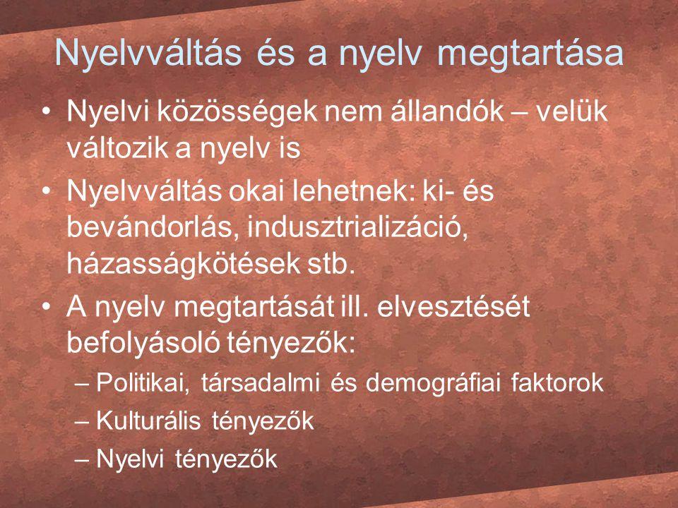Nyelvváltás és a nyelv megtartása Nyelvi közösségek nem állandók – velük változik a nyelv is Nyelvváltás okai lehetnek: ki- és bevándorlás, indusztria