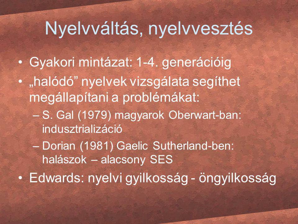 """Nyelvváltás, nyelvvesztés Gyakori mintázat: 1-4. generációig """"halódó"""" nyelvek vizsgálata segíthet megállapítani a problémákat: –S. Gal (1979) magyarok"""