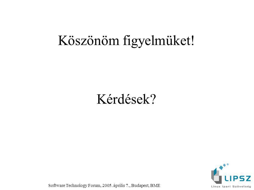 Software Technology Forum, 2005. április 7., Budapest, BME Köszönöm figyelmüket! Kérdések?
