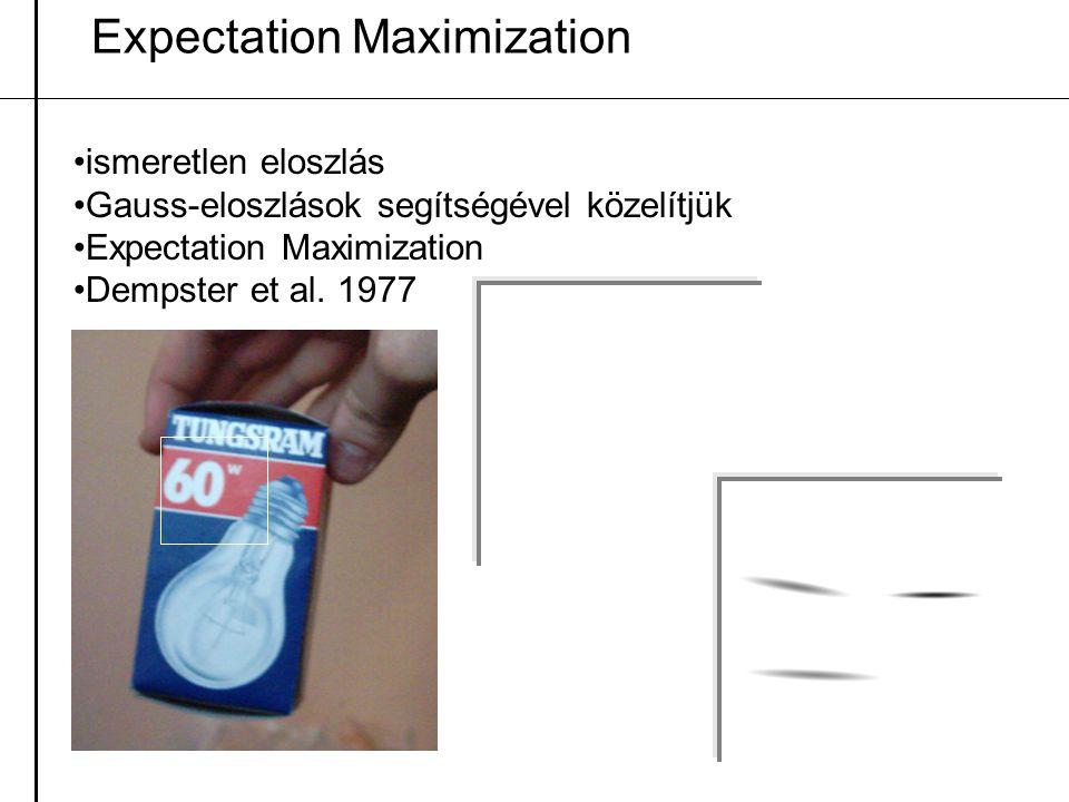 Expectation Maximization ismeretlen eloszlás Gauss-eloszlások segítségével közelítjük Expectation Maximization Dempster et al. 1977
