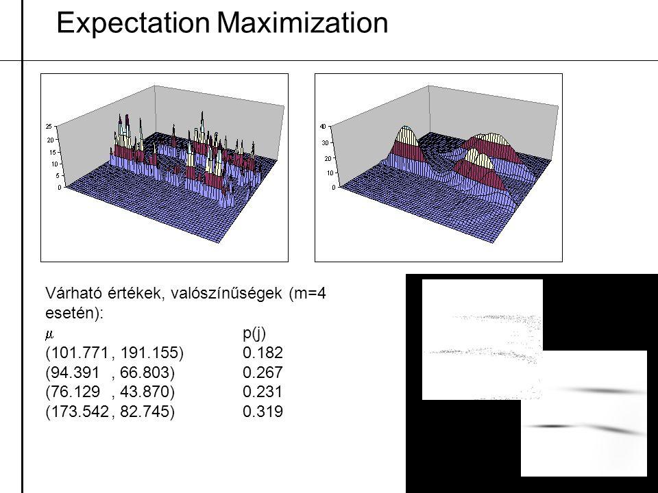 Expectation Maximization Várható értékek, valószínűségek (m=4 esetén):  p(j) (101.771, 191.155)0.182 (94.391, 66.803)0.267 (76.129, 43.870)0.231 (173