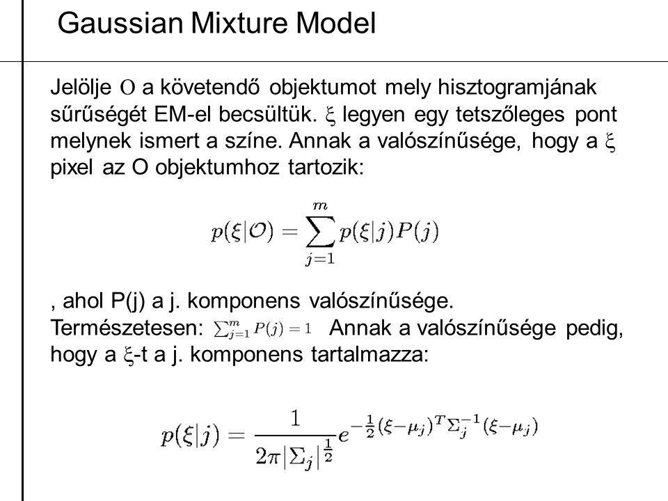 Gaussian Mixture Model Jelölje  a követendő objektumot mely hisztogramjának sűrűségét EM-el becsültük.  legyen egy tetszőleges pont melynek ismert a