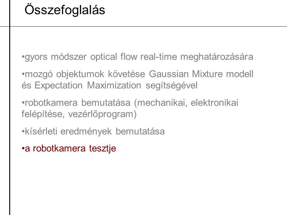 Összefoglalás gyors módszer optical flow real-time meghatározására mozgó objektumok követése Gaussian Mixture modell és Expectation Maximization segít