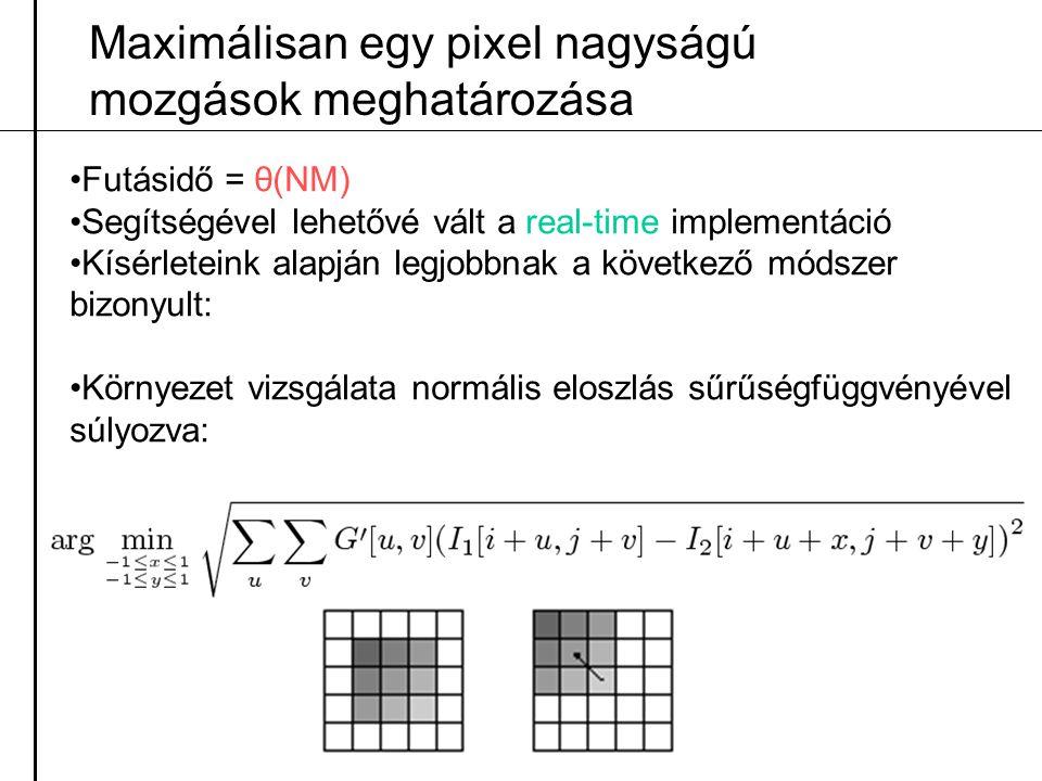 Maximálisan egy pixel nagyságú mozgások meghatározása Futásidő = θ(NM) Segítségével lehetővé vált a real-time implementáció Kísérleteink alapján legjo