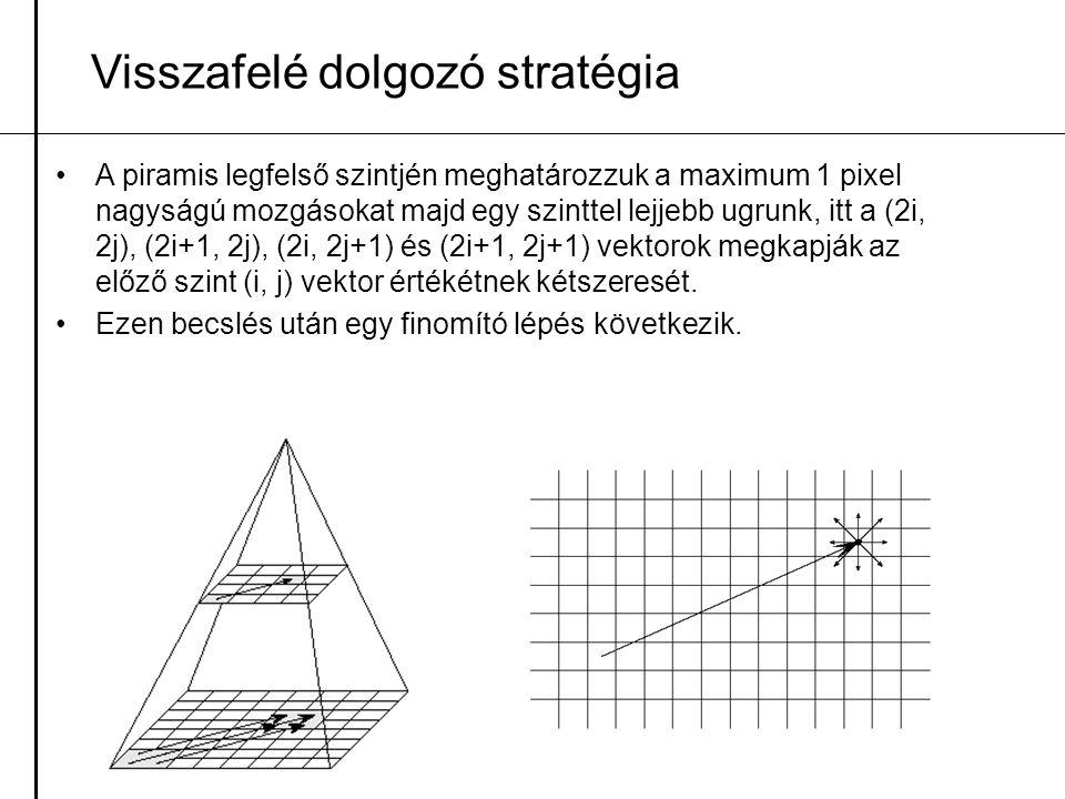 A piramis legfelső szintjén meghatározzuk a maximum 1 pixel nagyságú mozgásokat majd egy szinttel lejjebb ugrunk, itt a (2i, 2j), (2i+1, 2j), (2i, 2j+