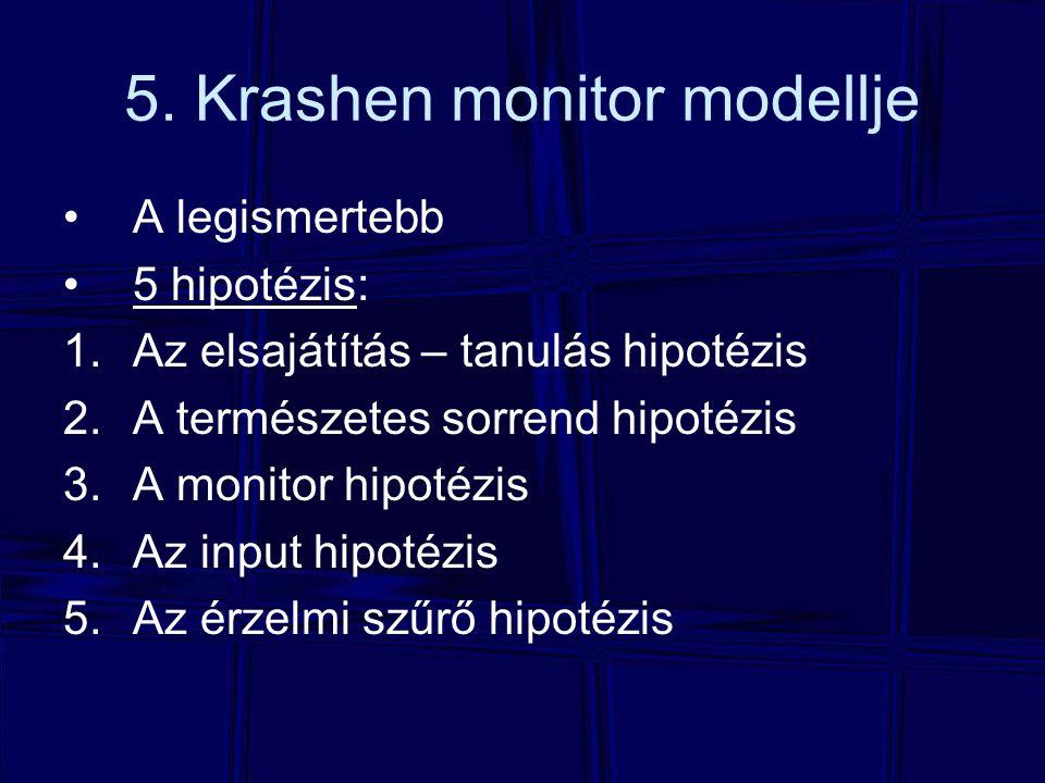 5. Krashen monitor modellje A legismertebb 5 hipotézis: 1.Az elsajátítás – tanulás hipotézis 2.A természetes sorrend hipotézis 3.A monitor hipotézis 4