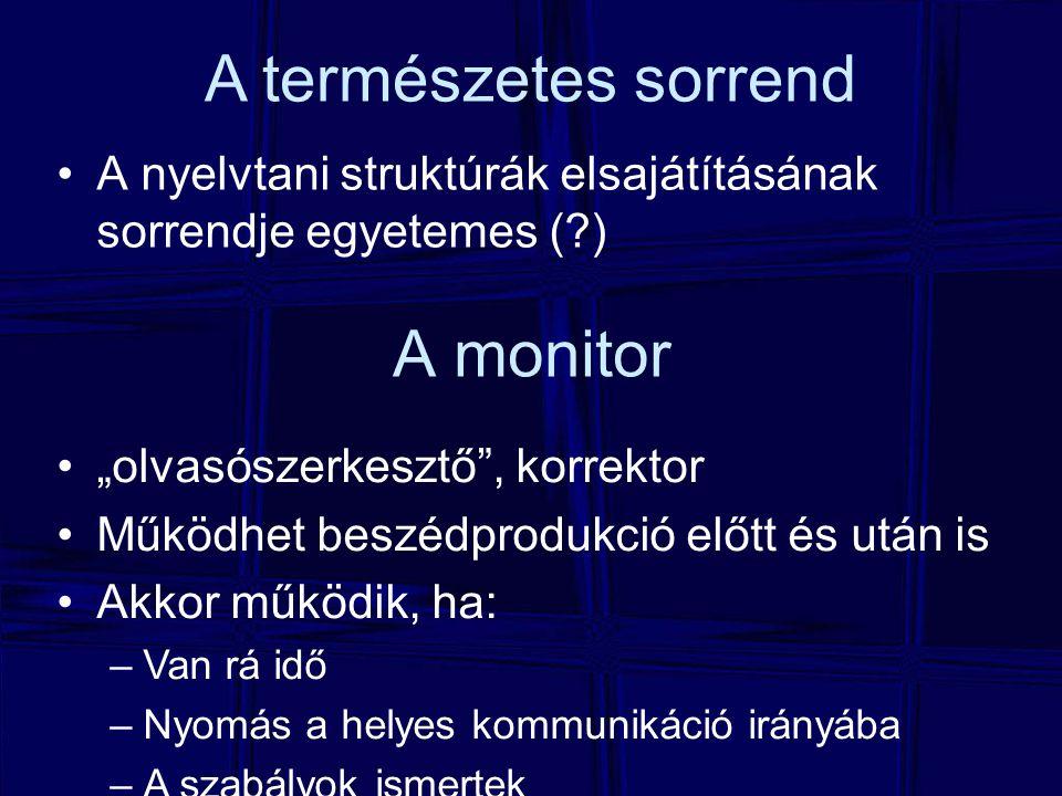 """A monitor A nyelvtani struktúrák elsajátításának sorrendje egyetemes (?) A természetes sorrend """"olvasószerkesztő , korrektor Működhet beszédprodukció előtt és után is Akkor működik, ha: –Van rá idő –Nyomás a helyes kommunikáció irányába –A szabályok ismertek"""