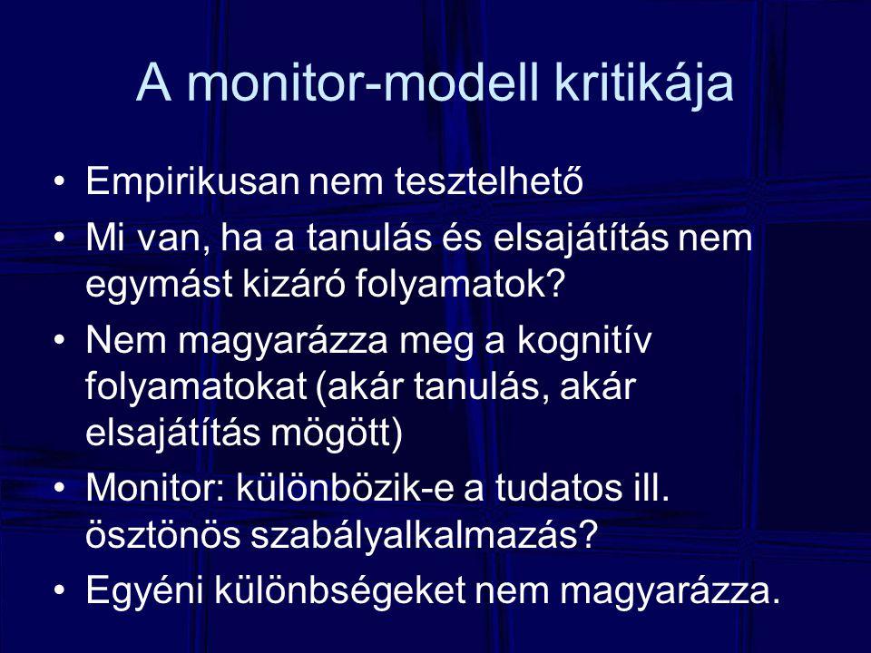 A monitor-modell kritikája Empirikusan nem tesztelhető Mi van, ha a tanulás és elsajátítás nem egymást kizáró folyamatok.