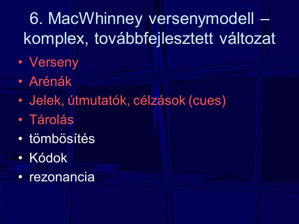 6. MacWhinney versenymodell – komplex, továbbfejlesztett változat Verseny Arénák Jelek, útmutatók, célzások (cues) Tárolás tömbösítés Kódok rezonancia