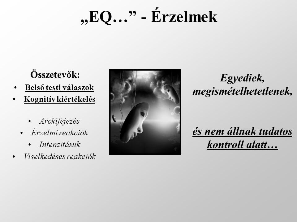 """""""EQ…"""" - Érzelmek Összetevők: Belső testi válaszok Kognitív kiértékelés Arckifejezés Érzelmi reakciók Intenzitásuk Viselkedéses reakciók Egyediek, megi"""
