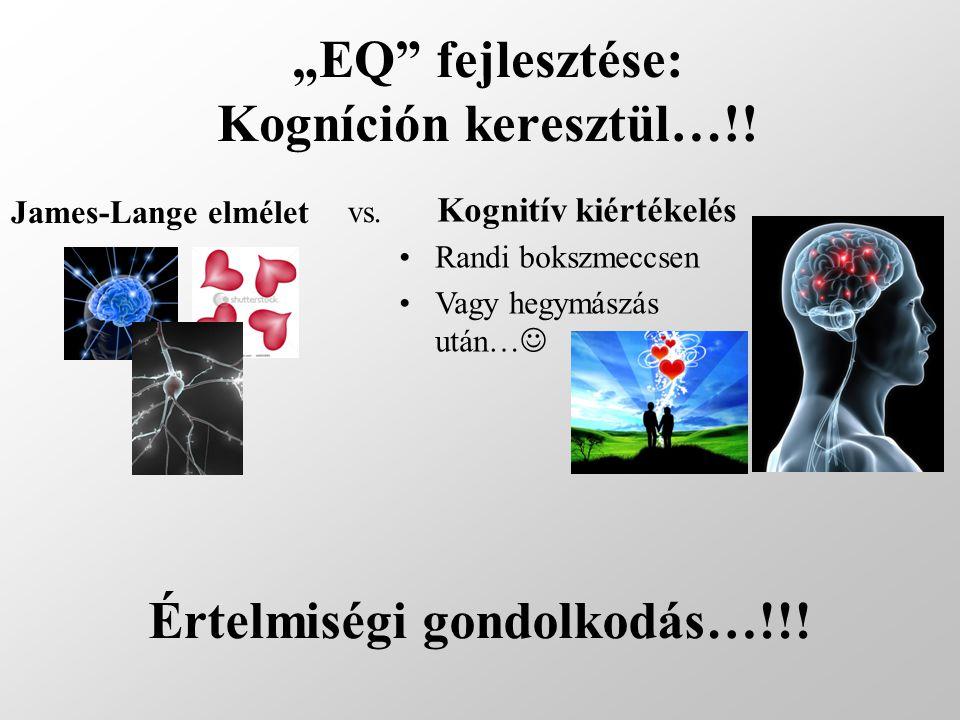 """""""EQ"""" fejlesztése: Kogníción keresztül…!! James-Lange elmélet Kognitív kiértékelés Randi bokszmeccsen Vagy hegymászás után… vs. Értelmiségi gondolkodás"""