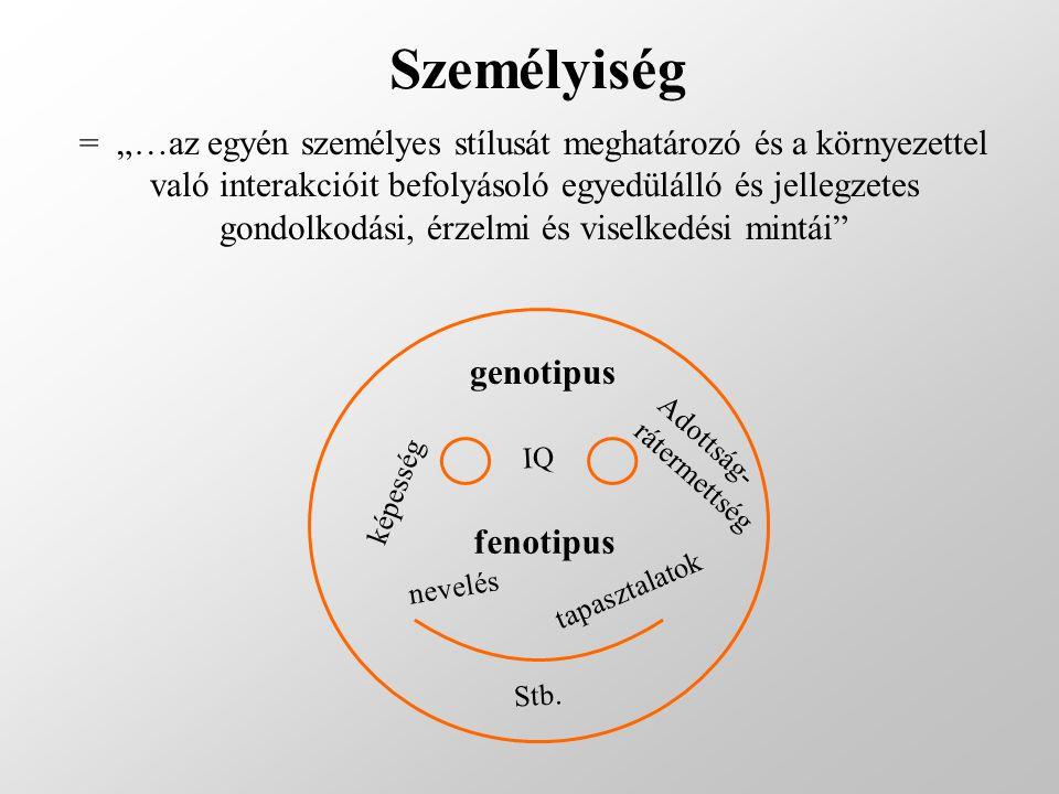 """Személyiség genotipus IQ Adottság- rátermettség képesség fenotipus nevelés tapasztalatok Stb. = """"…az egyén személyes stílusát meghatározó és a környez"""