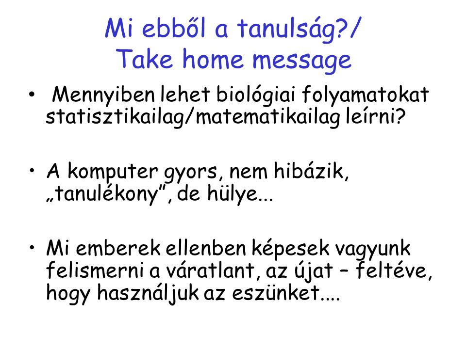 Mi ebből a tanulság / Take home message Mennyiben lehet biológiai folyamatokat statisztikailag/matematikailag leírni.