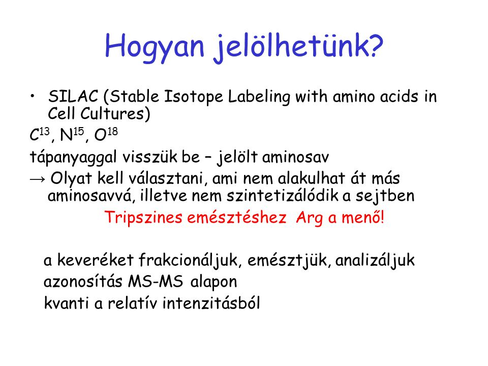 Hogyan jelölhetünk? SILAC (Stable Isotope Labeling with amino acids in Cell Cultures) C 13, N 15, O 18 tápanyaggal visszük be – jelölt aminosav → Olya