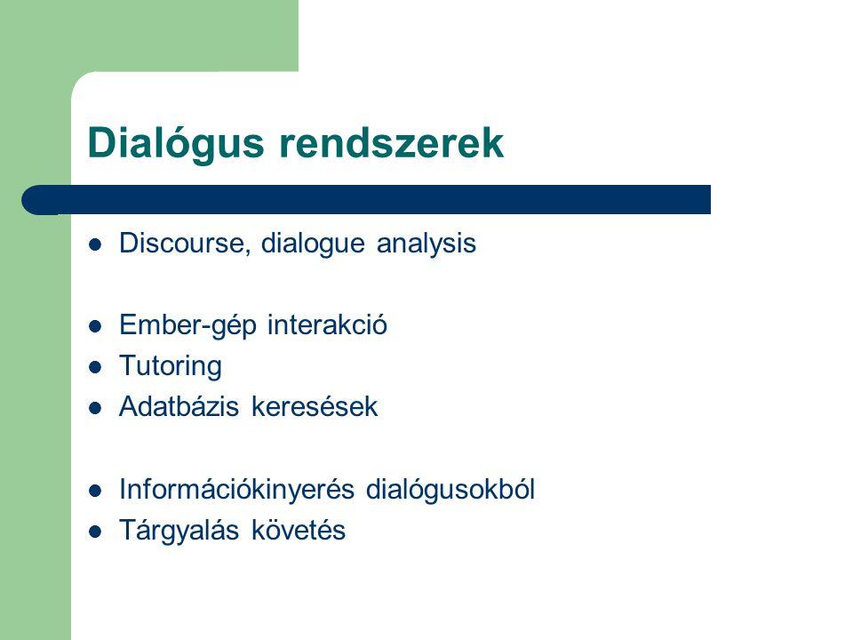 Dialógus rendszerek Discourse, dialogue analysis Ember-gép interakció Tutoring Adatbázis keresések Információkinyerés dialógusokból Tárgyalás követés