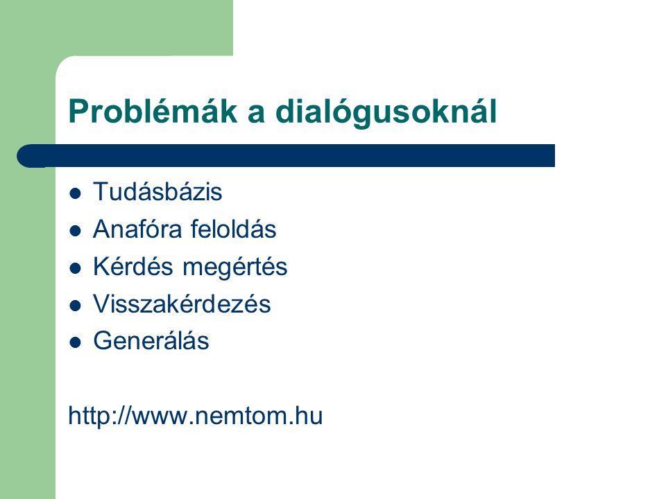 Problémák a dialógusoknál Tudásbázis Anafóra feloldás Kérdés megértés Visszakérdezés Generálás http://www.nemtom.hu