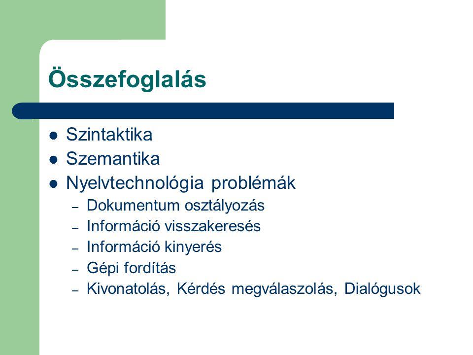 Összefoglalás Szintaktika Szemantika Nyelvtechnológia problémák – Dokumentum osztályozás – Információ visszakeresés – Információ kinyerés – Gépi fordítás – Kivonatolás, Kérdés megválaszolás, Dialógusok