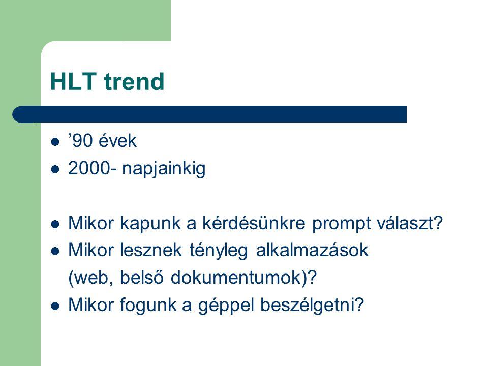 HLT trend '90 évek 2000- napjainkig Mikor kapunk a kérdésünkre prompt választ? Mikor lesznek tényleg alkalmazások (web, belső dokumentumok)? Mikor fog