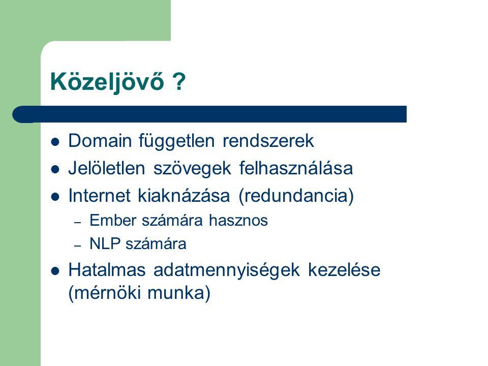 Közeljövő ? Domain független rendszerek Jelöletlen szövegek felhasználása Internet kiaknázása (redundancia) – Ember számára hasznos – NLP számára Hata