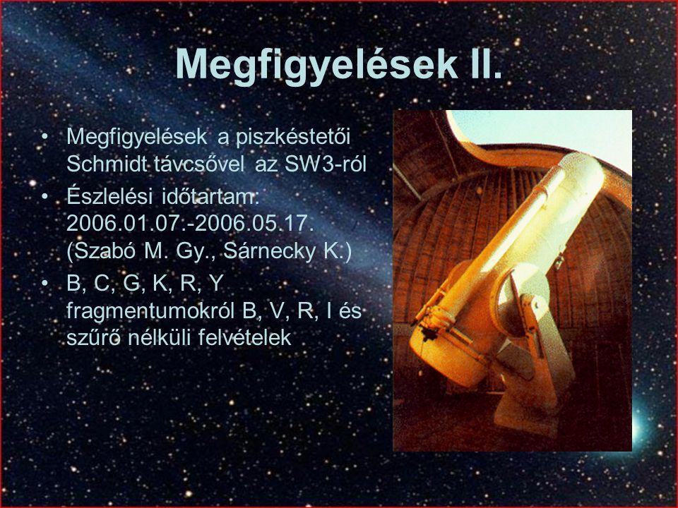 Megfigyelések II. Megfigyelések a piszkéstetői Schmidt távcsővel az SW3-ról Észlelési időtartam: 2006.01.07.-2006.05.17. (Szabó M. Gy., Sárnecky K.) B