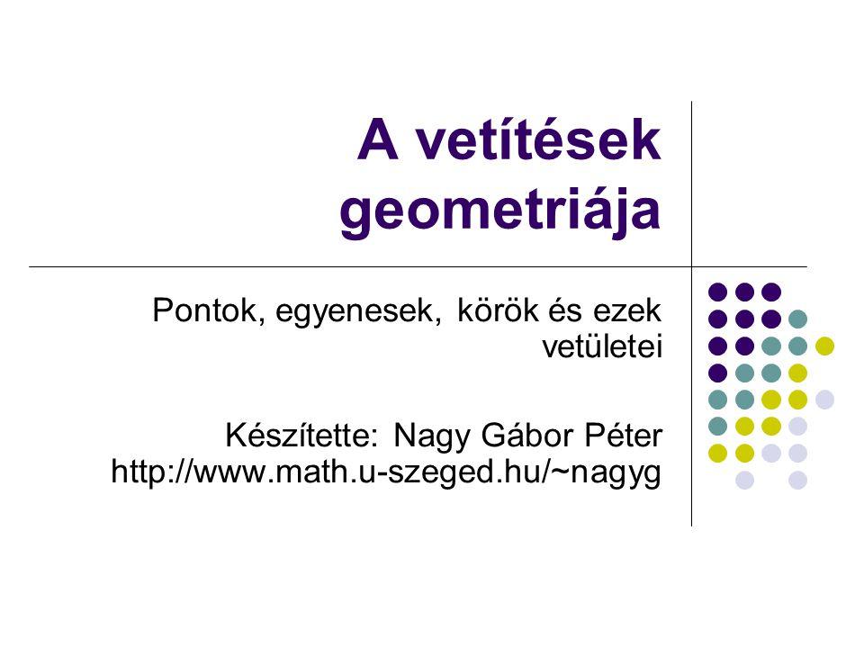 A vetítések geometriája Pontok, egyenesek, körök és ezek vetületei Készítette: Nagy Gábor Péter http://www.math.u-szeged.hu/~nagyg