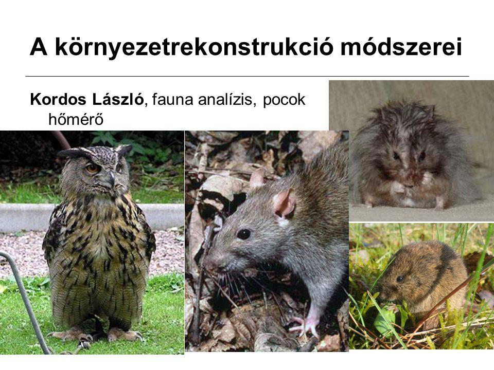 A környezetrekonstrukció módszerei Kordos László, fauna analízis, pocok hőmérő
