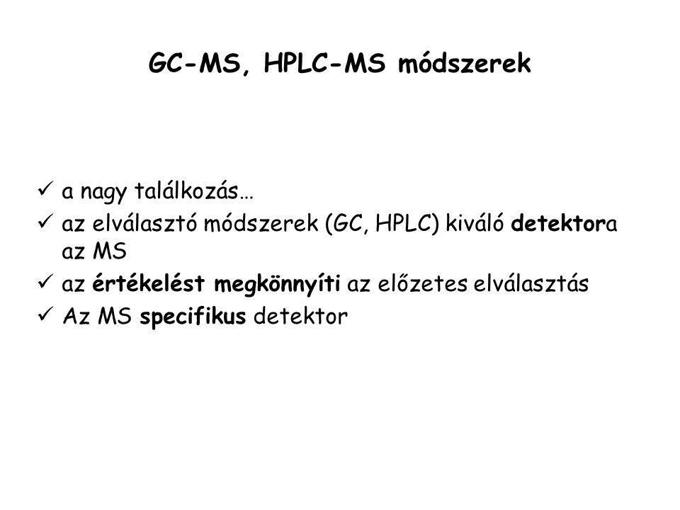 GC-MS, HPLC-MS módszerek a nagy találkozás… az elválasztó módszerek (GC, HPLC) kiváló detektora az MS az értékelést megkönnyíti az előzetes elválasztás Az MS specifikus detektor