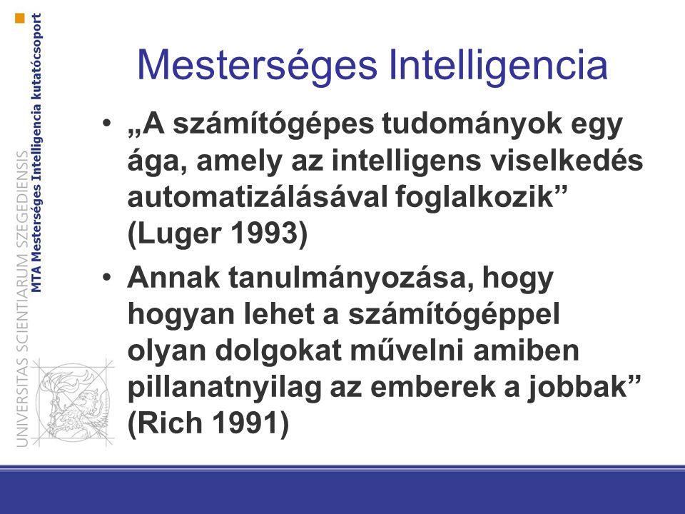 """Mesterséges Intelligencia """"A számítógépes tudományok egy ága, amely az intelligens viselkedés automatizálásával foglalkozik (Luger 1993) Annak tanulmányozása, hogy hogyan lehet a számítógéppel olyan dolgokat művelni amiben pillanatnyilag az emberek a jobbak (Rich 1991)"""
