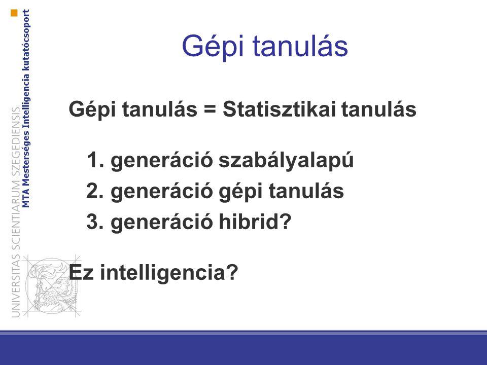 Gépi tanulás Gépi tanulás = Statisztikai tanulás 1. generáció szabályalapú 2. generáció gépi tanulás 3. generáció hibrid? Ez intelligencia?