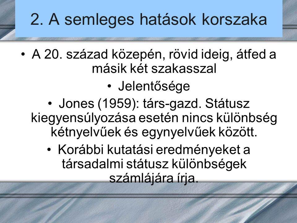 2. A semleges hatások korszaka A 20. század közepén, rövid ideig, átfed a másik két szakasszal Jelentősége Jones (1959): társ-gazd. Státusz kiegyensúl