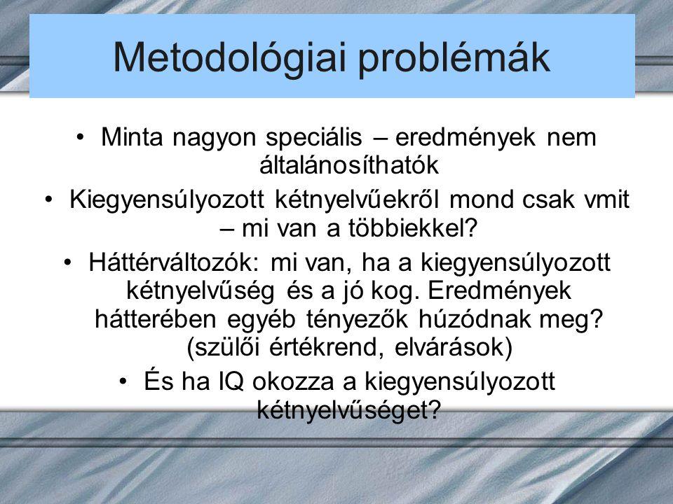 Metodológiai problémák Minta nagyon speciális – eredmények nem általánosíthatók Kiegyensúlyozott kétnyelvűekről mond csak vmit – mi van a többiekkel.
