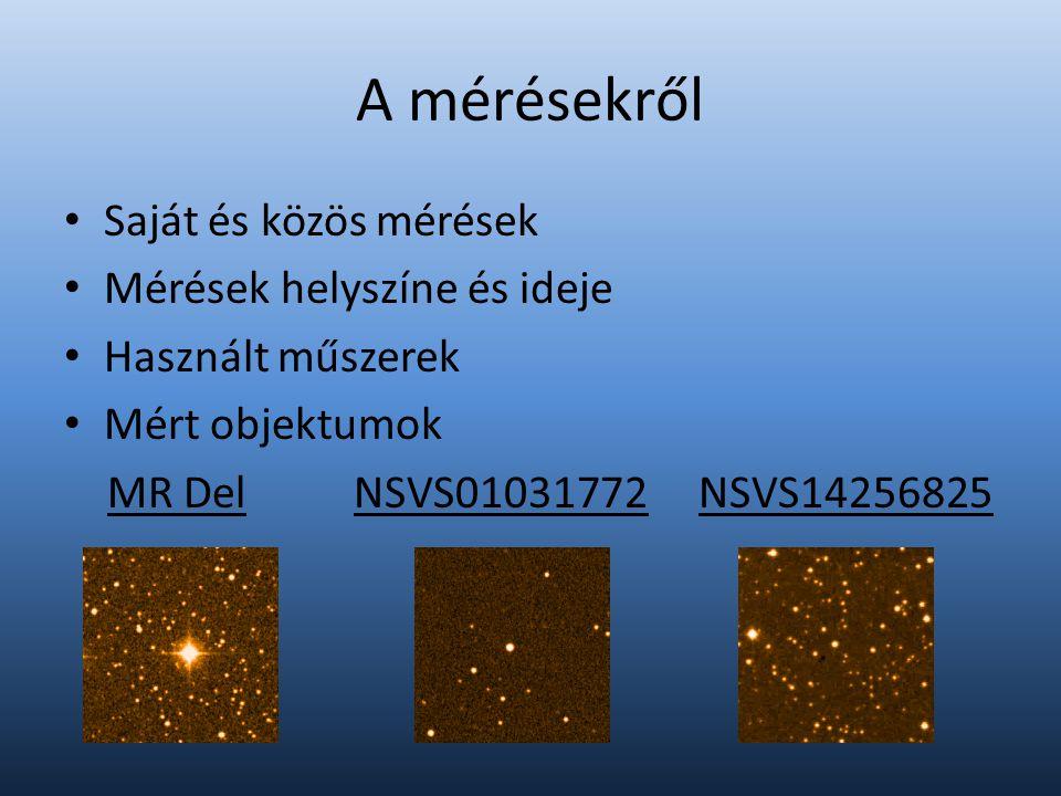 A mérésekről Saját és közös mérések Mérések helyszíne és ideje Használt műszerek Mért objektumok MR Del NSVS01031772 NSVS14256825