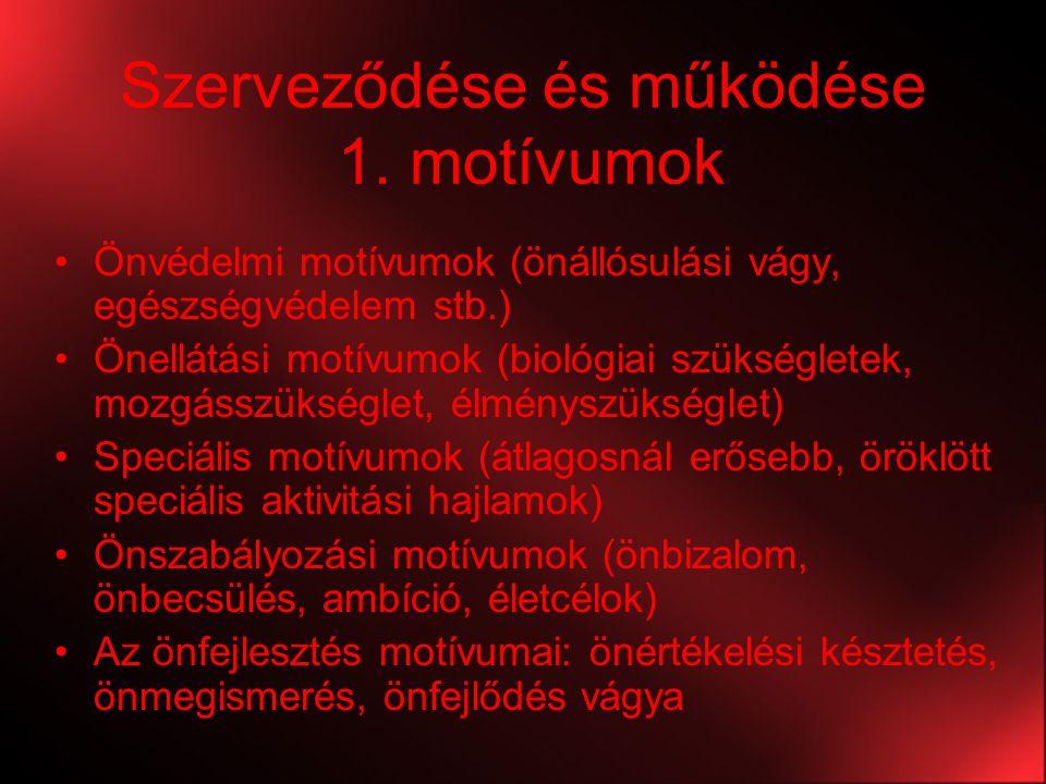 Szerveződése és működése 1. motívumok Önvédelmi motívumok (önállósulási vágy, egészségvédelem stb.) Önellátási motívumok (biológiai szükségletek, mozg