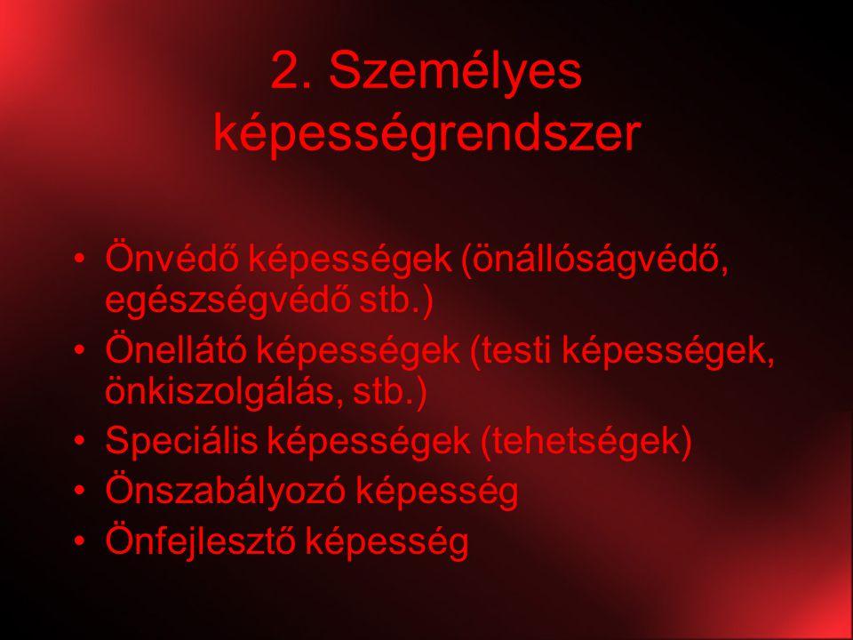 2. Személyes képességrendszer Önvédő képességek (önállóságvédő, egészségvédő stb.) Önellátó képességek (testi képességek, önkiszolgálás, stb.) Speciál