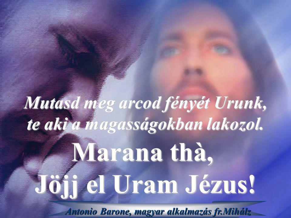 Marana thà, Jöjj el Uram Jézus! Mutasd meg arcod fényét Urunk, te aki a magasságokban lakozol. Antonio Barone, magyar alkalmazás fr.Mihálz